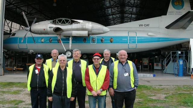 The SAAM team that move the Fokker F27 up 1.5m from the floor.